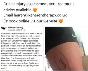 testimonial for our Sports Therapist